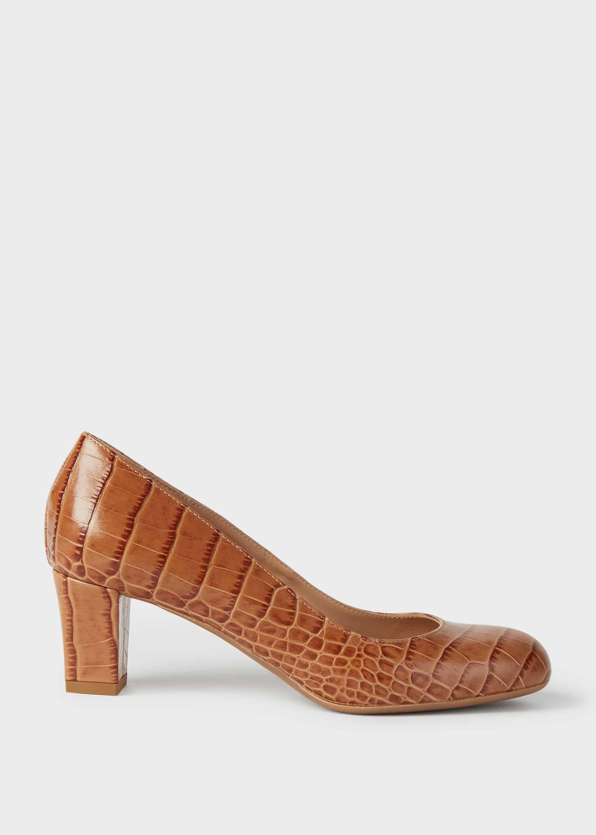 Hobbs Women Amber Crocodile Print Block Heel Court Shoes