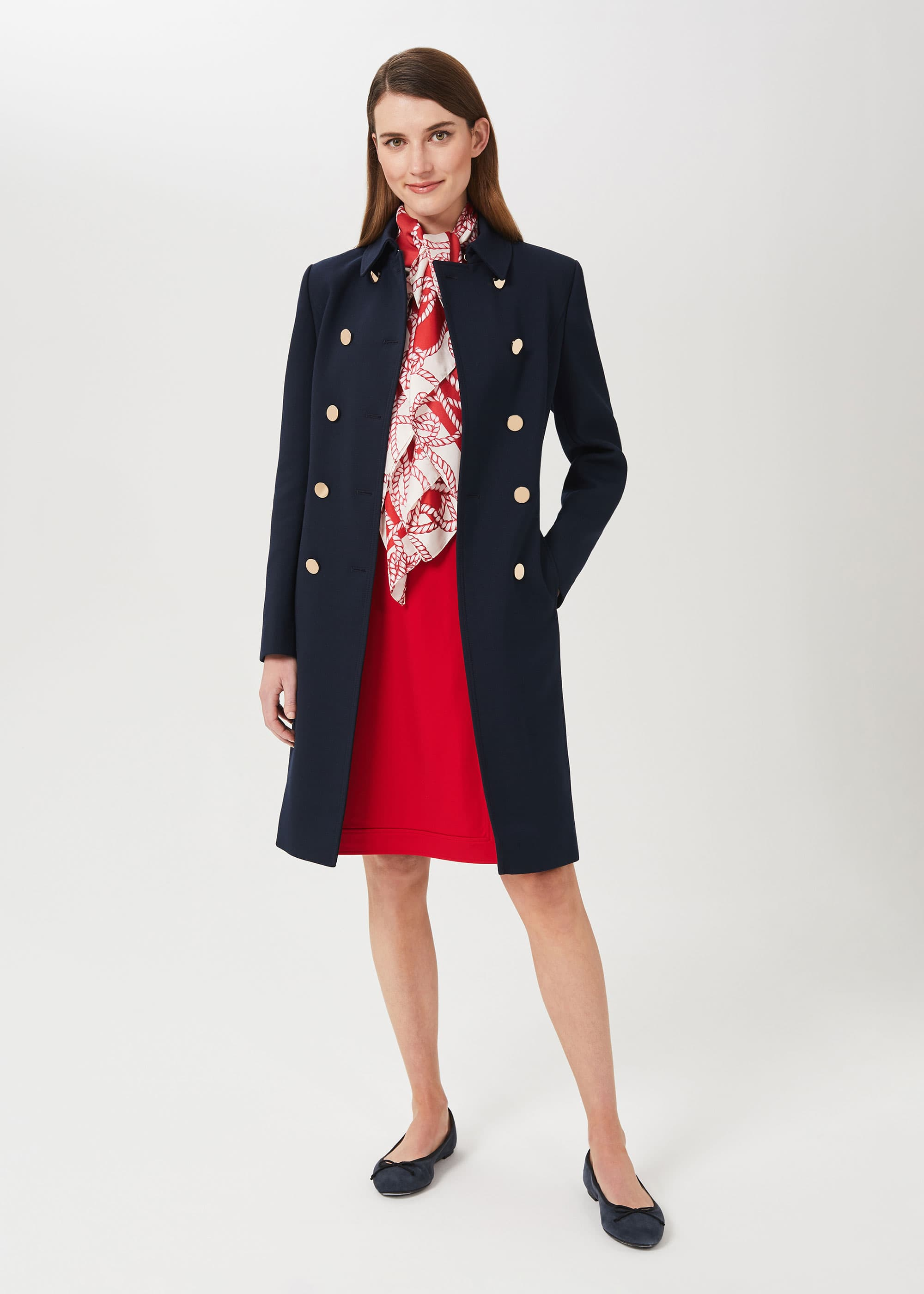 Hobbs Women Cecelia Military Coat With Wool