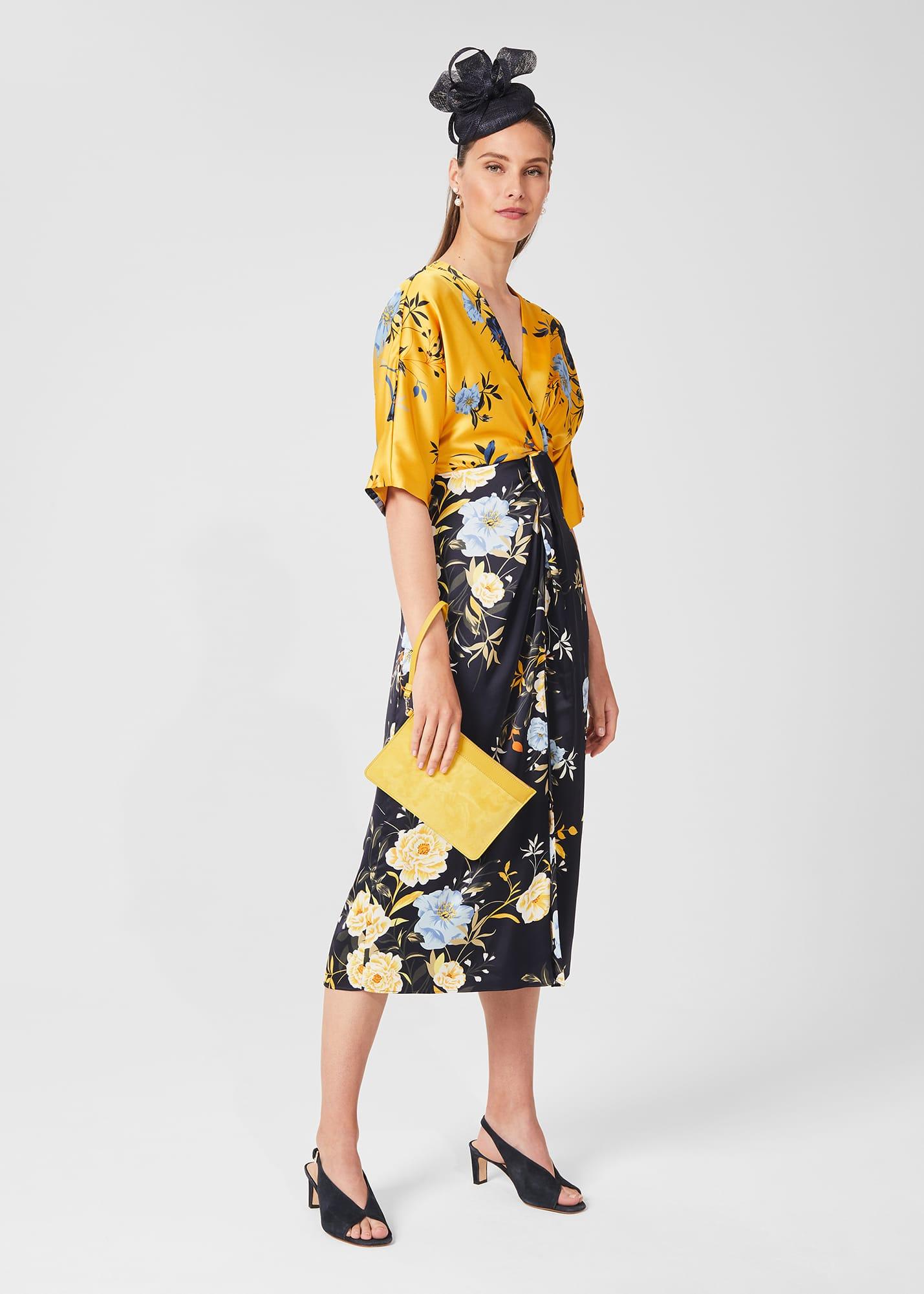 Hobbs Women Farrah Satin Floral Midi Dress