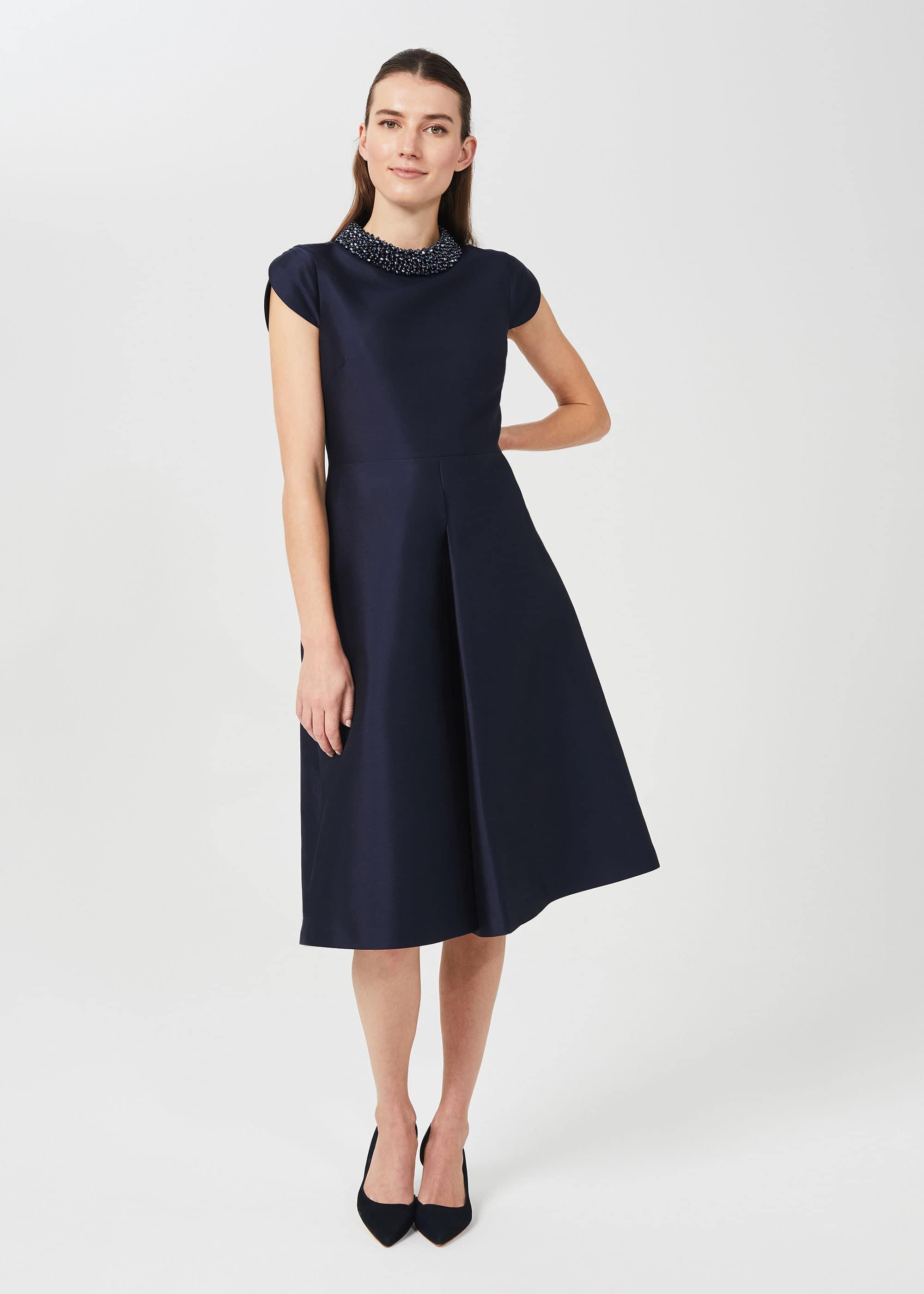Hobbs Women Christie Silk Wool Beaded Dress