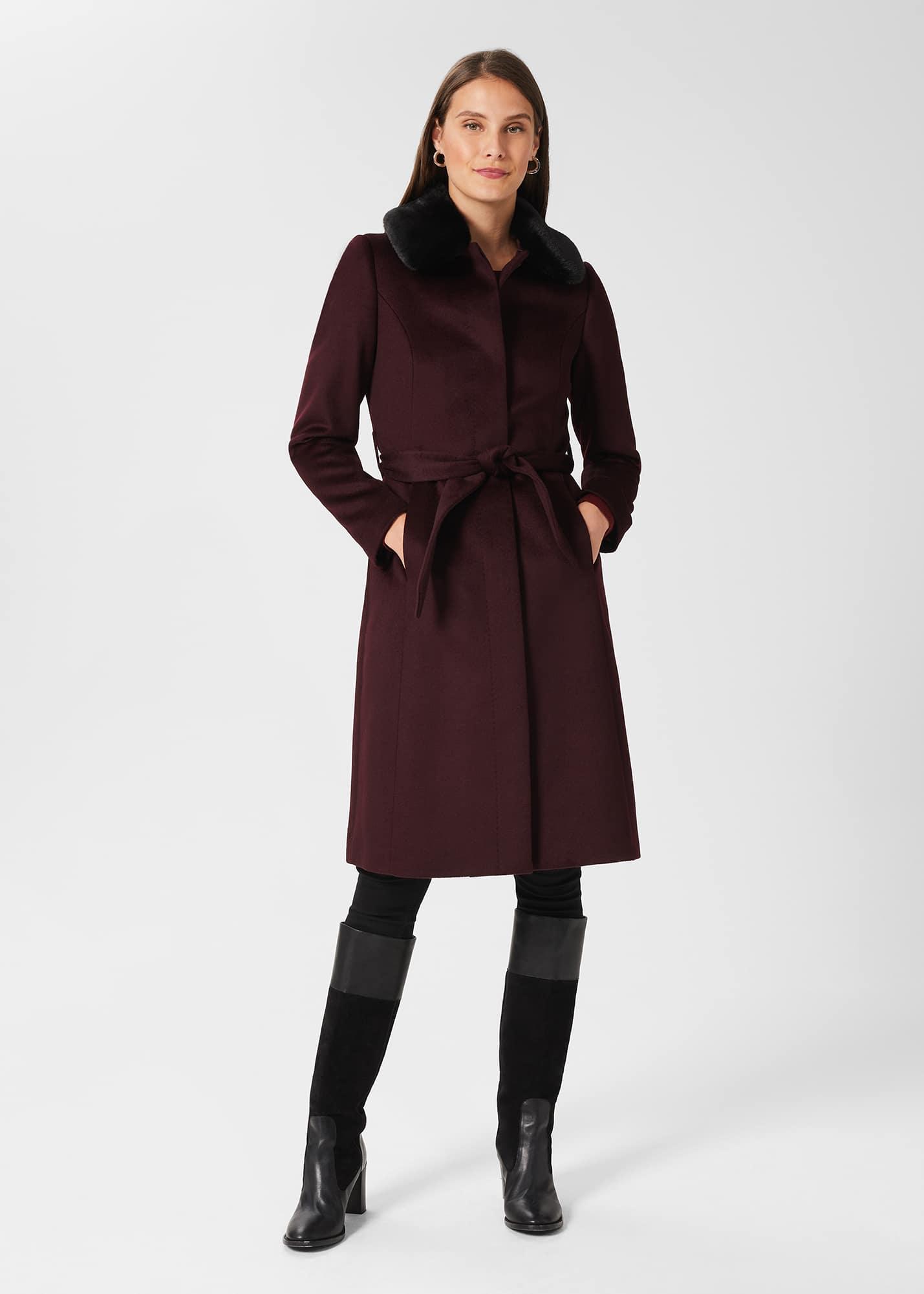 Hobbs Women Edeline Wool Coat With Faux Fur Collar