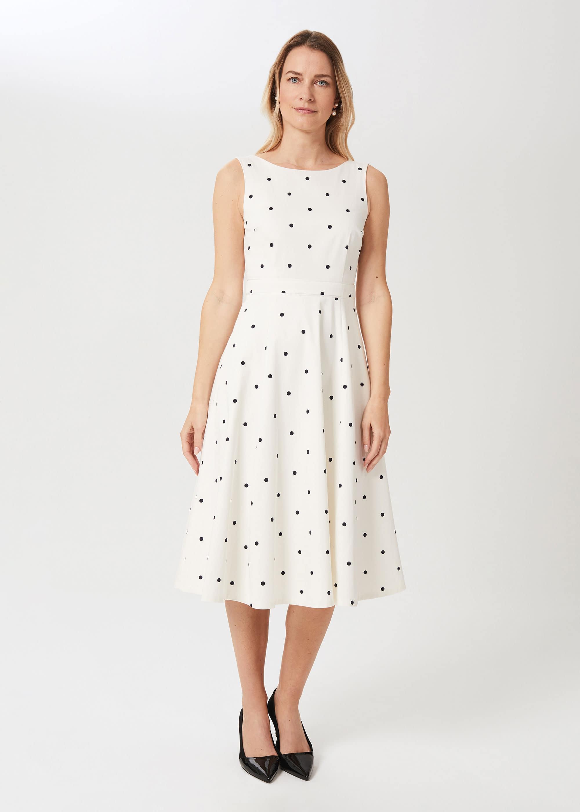 Hobbs Women Evelyn Cotton Blend Spot Dress