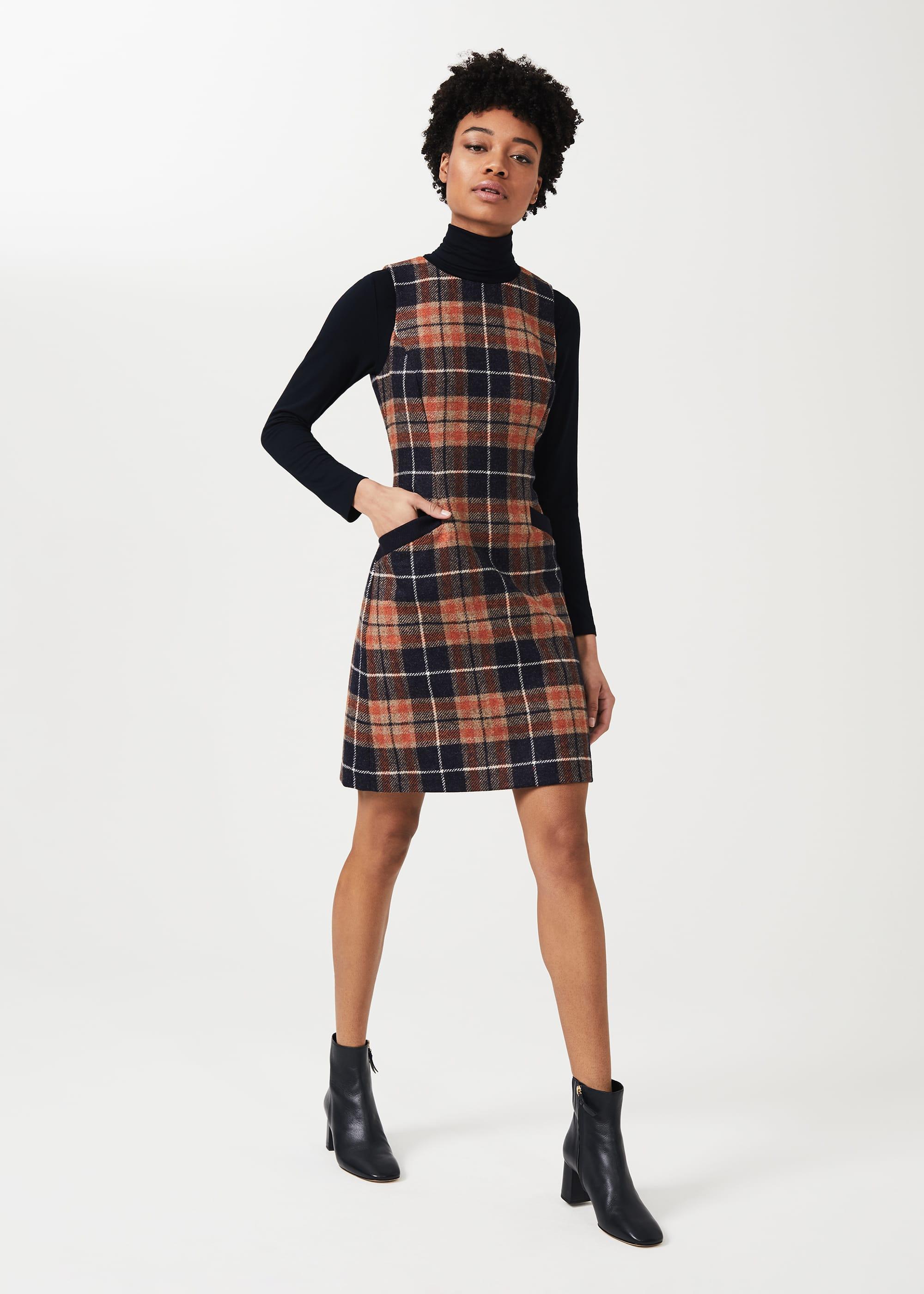 Hobbs Women Petite Nicola Wool Check Shift Dress
