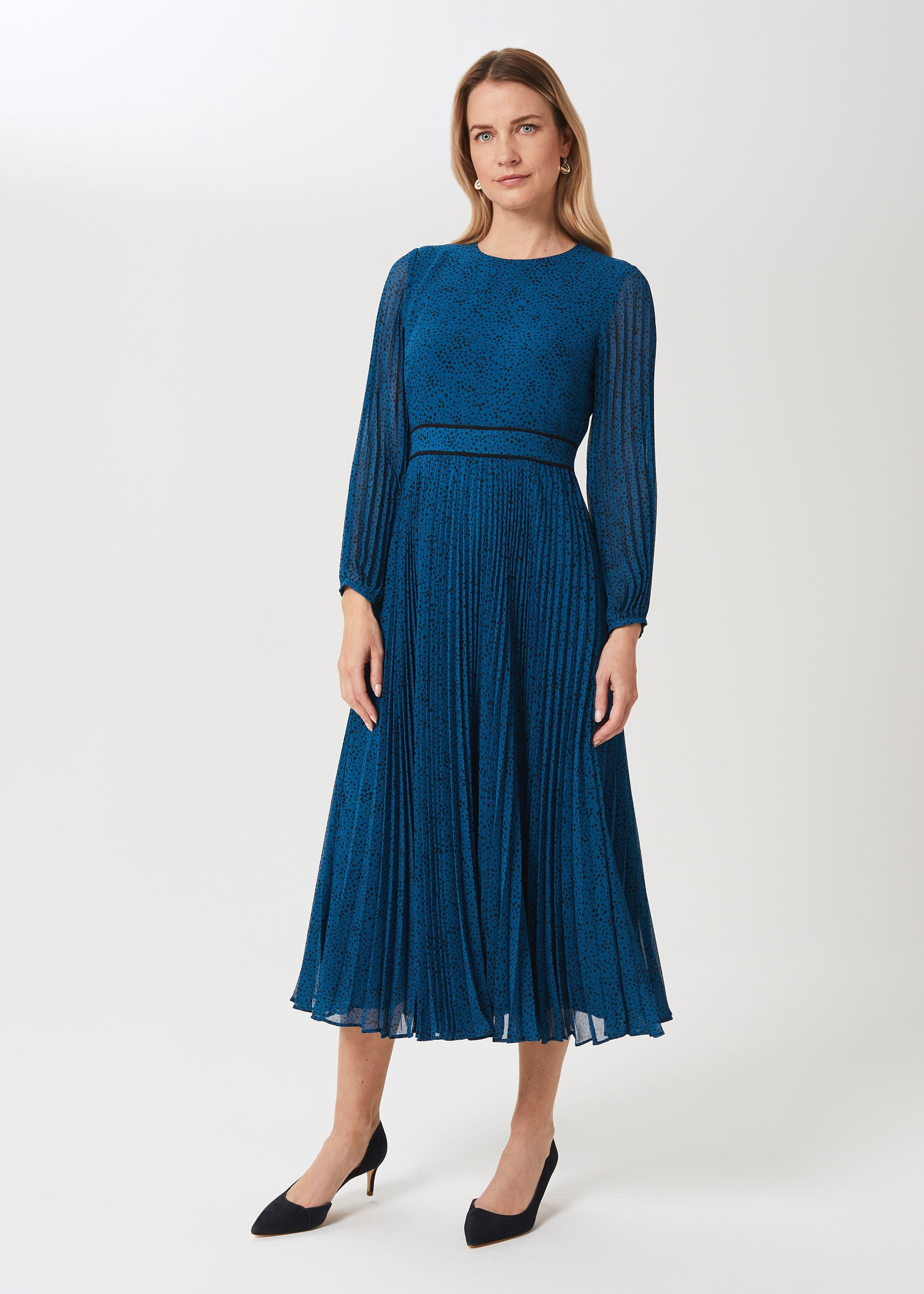 Hobbs Women Isabella Spot Pleated Midi Dress