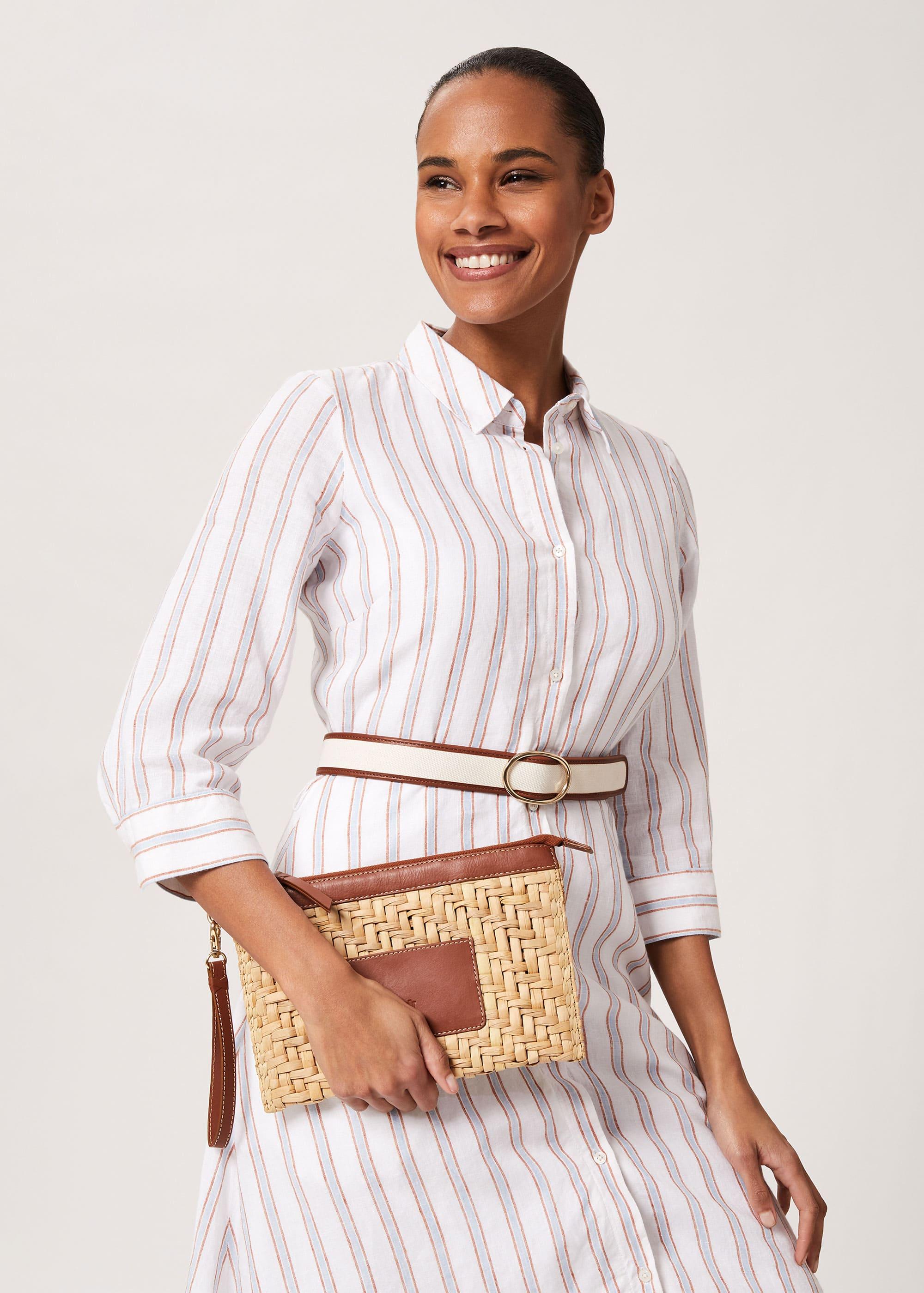 Hobbs Women Skye Straw Clutch Bag