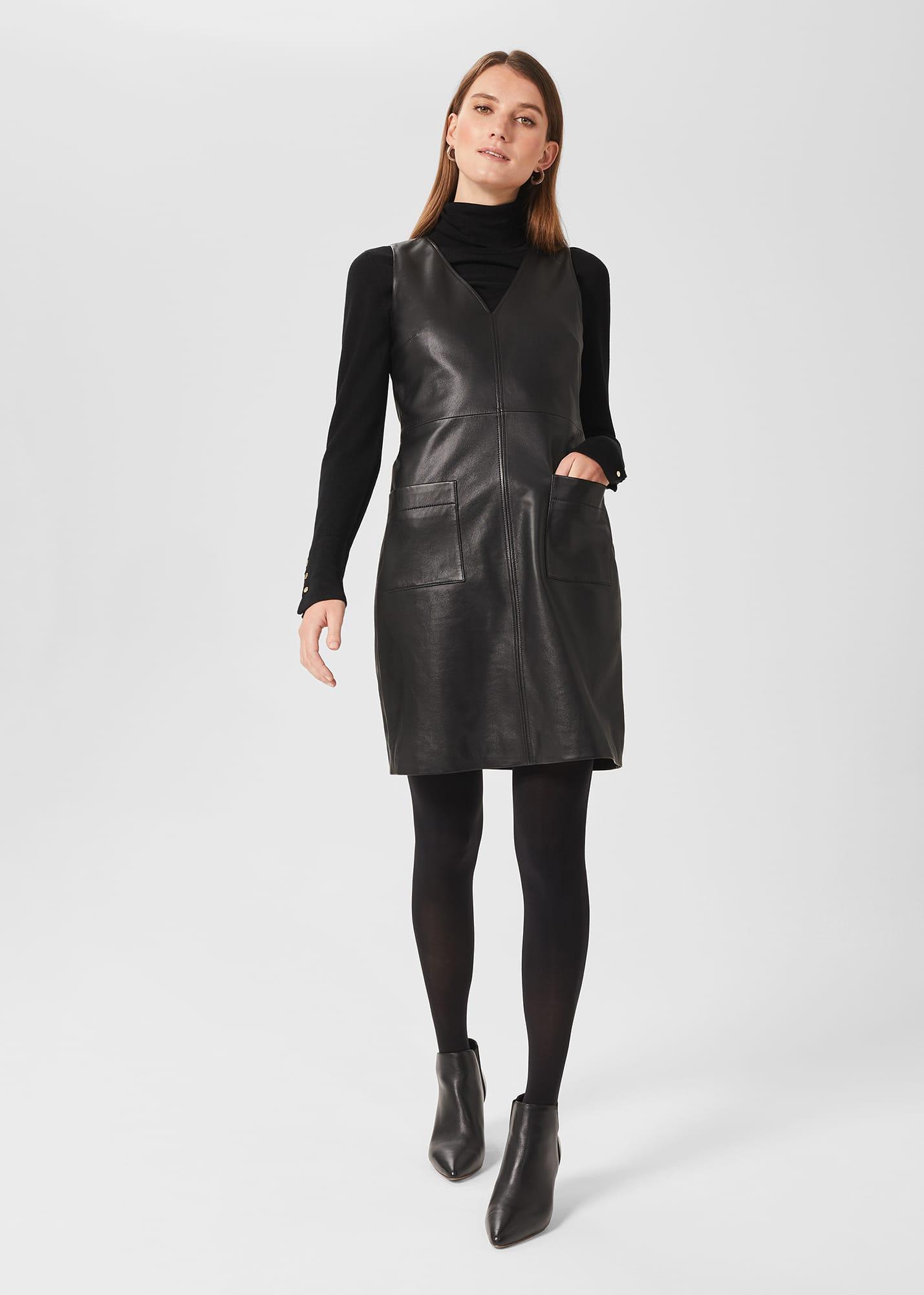 Hobbs Women Amoura A Line Shift Leather Dress
